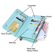 Women Pure Color Stylish Long PU Leather Purse Card Holder Phone Bags