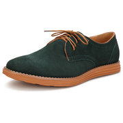 Big Size Men Suede Pure Color Lace Up Flat Casual Oxford Shoes
