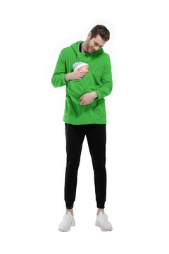 Original Functional Detachable Big Front Baby Keeping Pocket Zipper Hoodie for Daddy