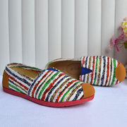 Colorful Stripe Canvas Slip On Flat Casual Shoes