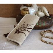 Women Linen National Style Lotus Orchid Wallet Card Holder Purse