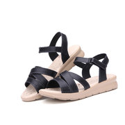 Leather Bandage Strappy Candy Color Peep Toe  Hook Loop Flat Sandals