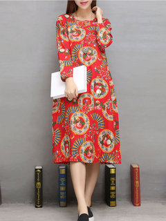 Casual Flower Printed O-Neck Long Sleeve A-Line Dress For Women