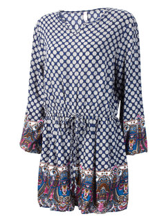 Retro Loose Floral Print Long Sleeve Pleated A-line Dress