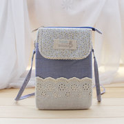 Women Cotton Crossbody Bag Lace Floral Phone Wallet Purse For Iphone Samsung Redmi