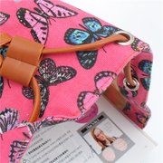 Ladies Girls Butterfly Canvas Backpack Casual School Bag