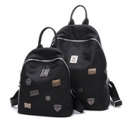 Black Nylon Oxford Metal Decorate Casual Large Small Backpack School Bag