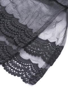 Women Casual Lace Stitching Slit Long Sleeve O-neck T-shirt