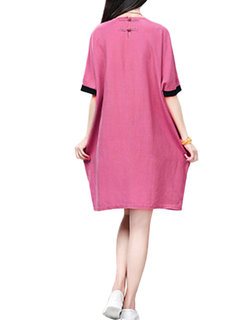 Chinese Frog Patchwork Pocket Loose Straight Dress For Women