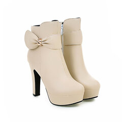 Waterproof High-Heeled Boots  Side Zipper Ankle Boots With Bow Decoration