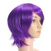 Anime Purple Short Full Wig Cosplay Party Straight Hair Full Wigs High-temperature Hairpiece Unisex