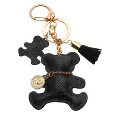 Leather Bear Tassel Handbag Keychain