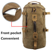 Men Dual-Use Canvas Bucket Backpack Jungle Climbing Bag