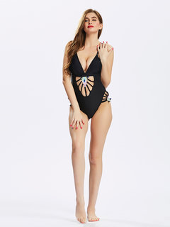 Women Sexy Hollow Out One Piece Bikini Deep V Swimsuit Swimwear