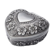 Vintage Carved Flower Heart Shaped Jewelry Box