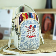 Women Canvas Patchwork Chinese Style Crossbody Bag Phone Wallet Purse For Iphone Samsung