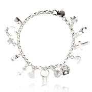 Cross Heart Moon Star Silver Bracelet