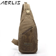 AERLIS Men Canvas Retro Multifunctional Sport Casual Chest Crossbody Bag