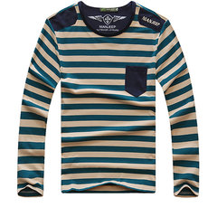 NIAN JEEP Fall Tops Tee Round Neck Striped Pattern Easy-care Long Sleeve T-shirt
