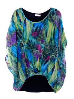 Plus Size Women Fake Two-Piece Phoenix Feather Chiffon Blouse