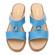 Leather Hollow Out Metal Candy Color Peep Toe Slip On Flat Beach Sandals