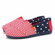 Canvas Star And Stripe Color Match Round Toe Slip On Flat Shoes