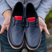 Men Color Match Dark Blue Pu British Style Lace Up Casual Shoes