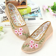 Floral Print Leaf Embroidery Hemp Breathable Slip On Flat Loafers