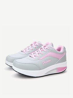 Casual Color Matching Running Platform Lace Up Sport Shoes
