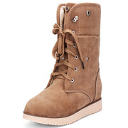 Suede Thick Heel Lace Up Folded Short Snow Boots