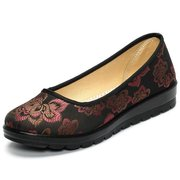 Big Size Flower Pettern Slip On Vintage Soft Sole Flat Loafers