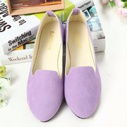Big Size Pure Color Candy Color Round Toe Slip On Flat Shoes