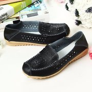 Leather Hollow Out Pure Color Breathable Slip On Flat Shoes