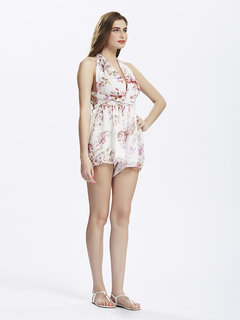 Beach Sexy Strap Backless Floral Deep V Women Jumpsuit