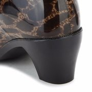 Leopard Dot Butterflyknot водонепроницаемый скольжения на Mid Calf низкий каблук ботинки дождя
