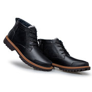 Big Size Men Leather Lace Up Vintage Retro Casual High Top Boots