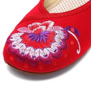 Embroidery Floral Print National Wind Chineseknot Buckle Lace Up Vintage Flat Loafers