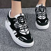 Suede Color Match Lace Up Korean Style Flat Sport Casual Shoes