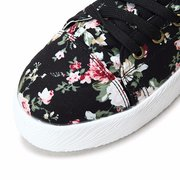 Floral Print Retro Fashion High Top Lace Up Flat Casual Shoes