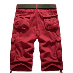 Summer Mens Cotton Beach Shorts Big Pockets Washed Solid Color Overall Cargo Shorts