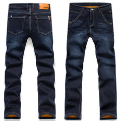Winter Casual Business Thicken Warm High Elastic Slim Denim Mid-Waist Jean for Men