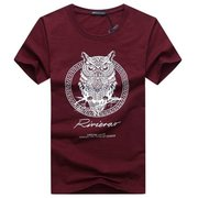 Plus Size Men's Owl Pattern Printed T-shirts O-neck Short Sleeve Cotton Tops 6 Colors