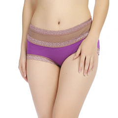 Women Sexy Bamboo Fiber Embroidered Lace Panties High Waist Color Block Underwear