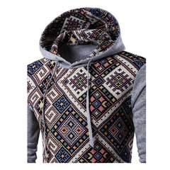 Mens Hoodies Ethnic Style Pattern Retro Printing Front Pocket Sport Hooded Tops