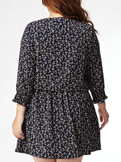 Casual Floral Printed Lacing Long Sleeve Pleated Dress