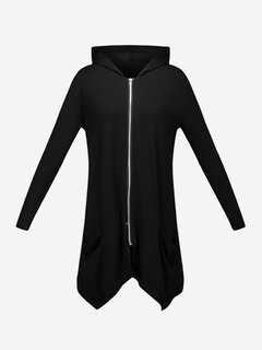 Women Casual Irregular Hooded Pure Color Hoodie Coat