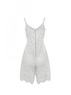 Women White Sling Lace Cami Rompers