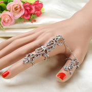 Adjustable Rose Flower Gold Silver Rhinestone Link Double Rings