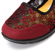 Canvas Mesh Flower Breathable Elastic Flat Embroidered National Wind Shoes