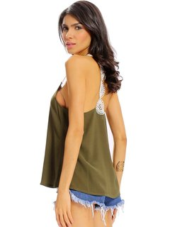 Women Sexy Lace Stitching Camisole O Neck Tops